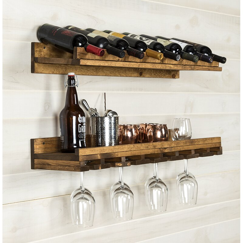 Berlyn 2 Piece 8 Bottle Wall Mounted Wine Rack Set Reviews Allmodern