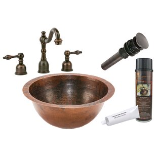 Premier Copper Products Hammered Metal Circular Undermount Bathroom Sink w..
