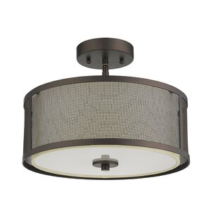 Hanceville Transitional Ceiling 2-Light Semi-Flush Mount by Wrought Studio