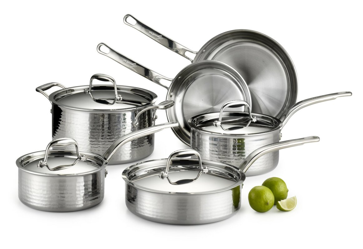 Lagostina Martellata 10 Piece Stainless Steel Cookware Set ...