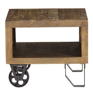 Ong Pine Wood and Metal End Table by Williston Forge