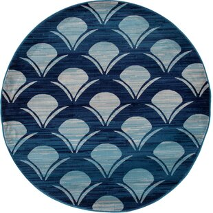 Ceasar Waves Navy Indoor/Outdoor Area Rug