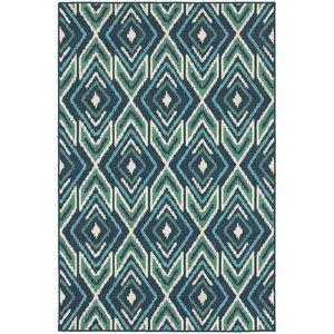 Kailani Contemporary Navy/Green Indoor/Outdoor Area Rug
