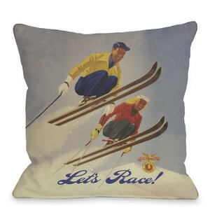 Let's Race Vintage Ski Throw Pillow