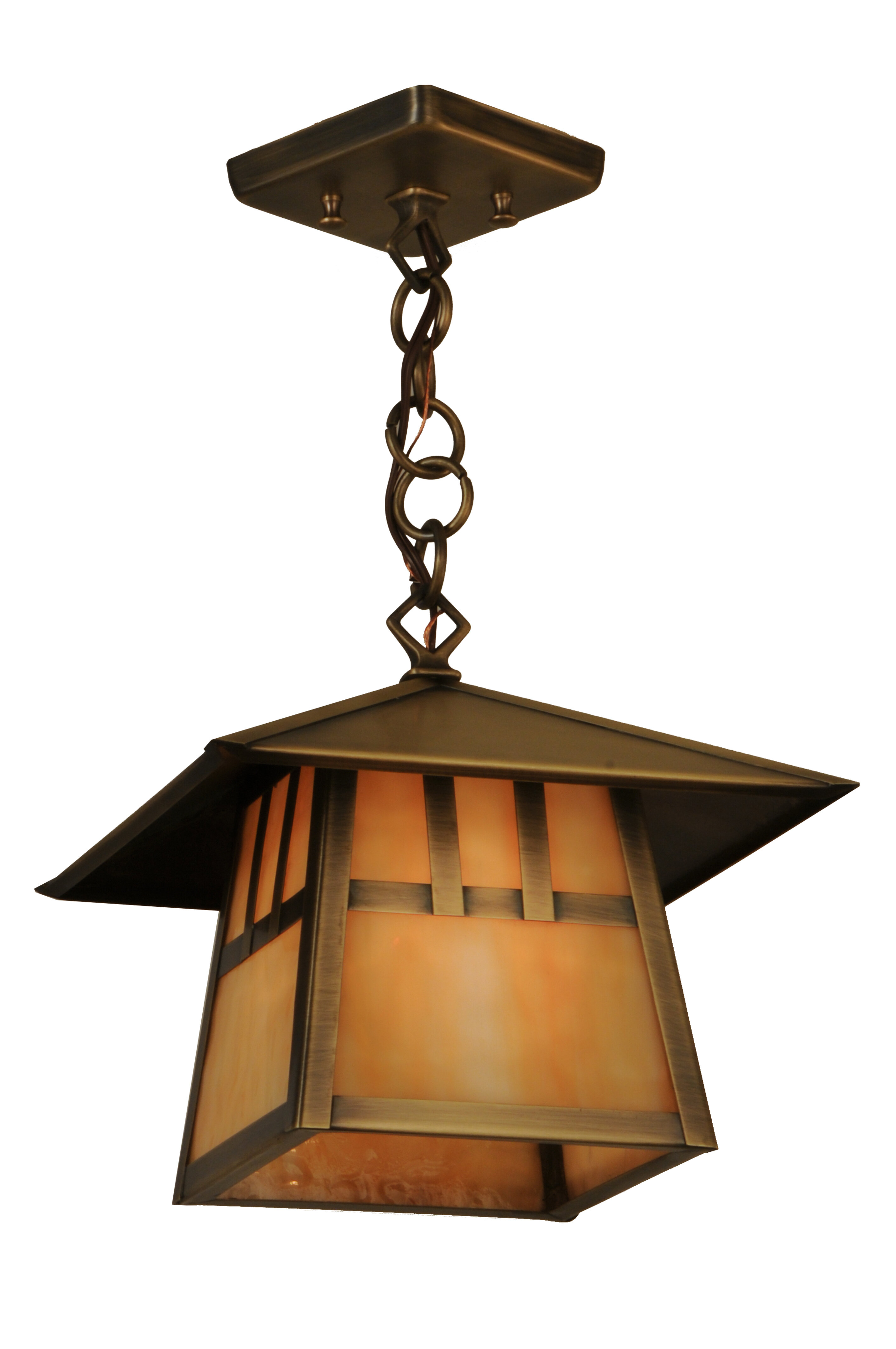 Meyda Tiffany Greenbriar Oak 1 Light Lantern Geometric Pendant Wayfair