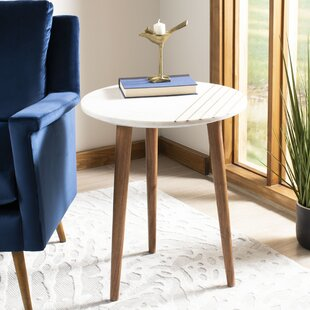 Reviews Leatrice Round Marble End Table by Wrought Studio