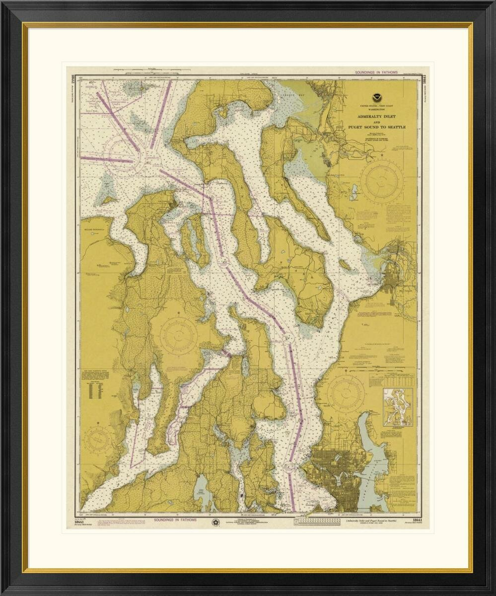 East Urban Home Nautical Chart Admiralty Inlet And Puget Sound To Seattle Ca 1975 Sepia Tinted Framed Graphic Art Wayfair