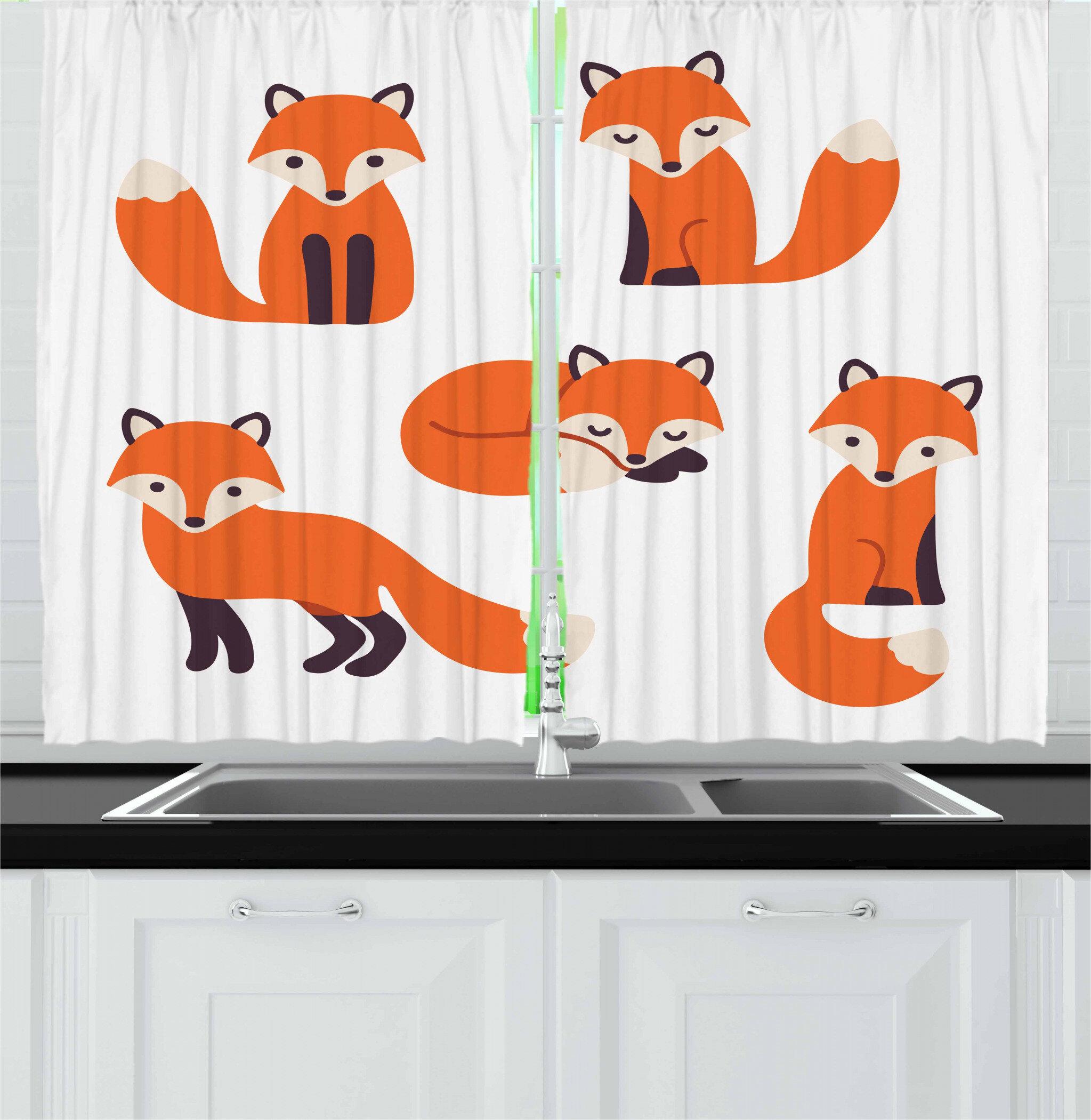 East Urban Home Fox 2 Piece Kitchen Curtain Set Wayfair
