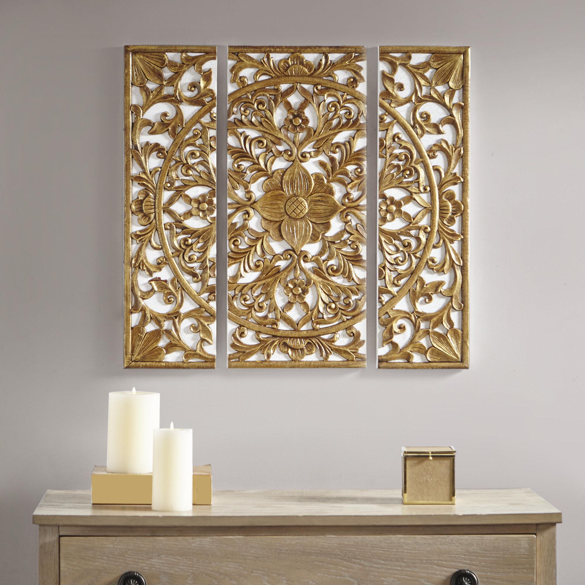 Bungalow rose 3 piece 3d medallion wall décor set wayfair