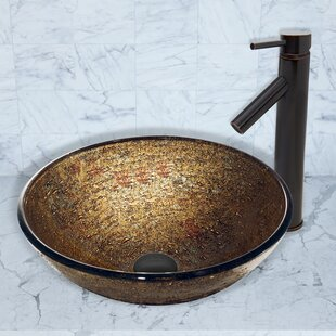 Online Reviews Textured Copper Glass Circular Vessel Bathroom Sink with Faucet By VIGO