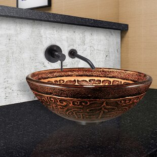 VIGO Greek Glass Circular Vessel Bathroom Sink with Faucet