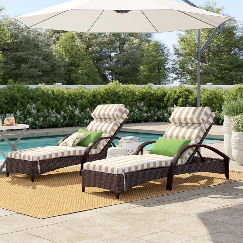 Cerralvo Reclining Chaise Lounge With Waterproof Sunbrella Cushion