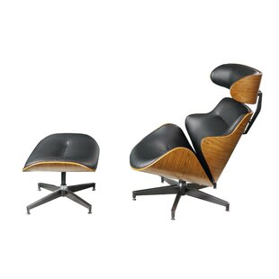 Hollandale Leatherette Wooden Swivel Side Chair and Ottoman (Set of 2) by Wrought Studio