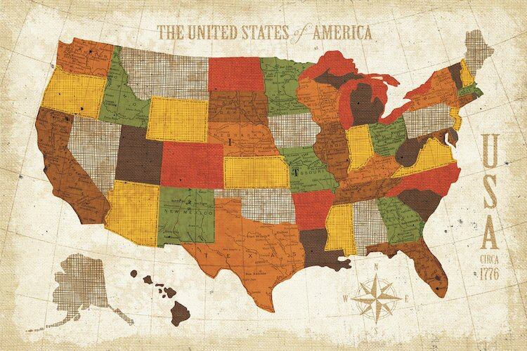 East Urban Home \'US Map (Modern Vintage Spice)\' Graphic Art on ...
