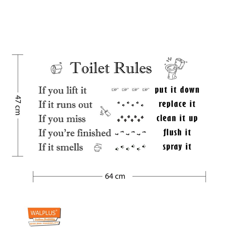 Toilet Rules Wall Decal