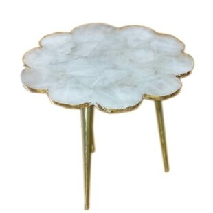 Aitkin Quartz Flower Natural Stone End Table