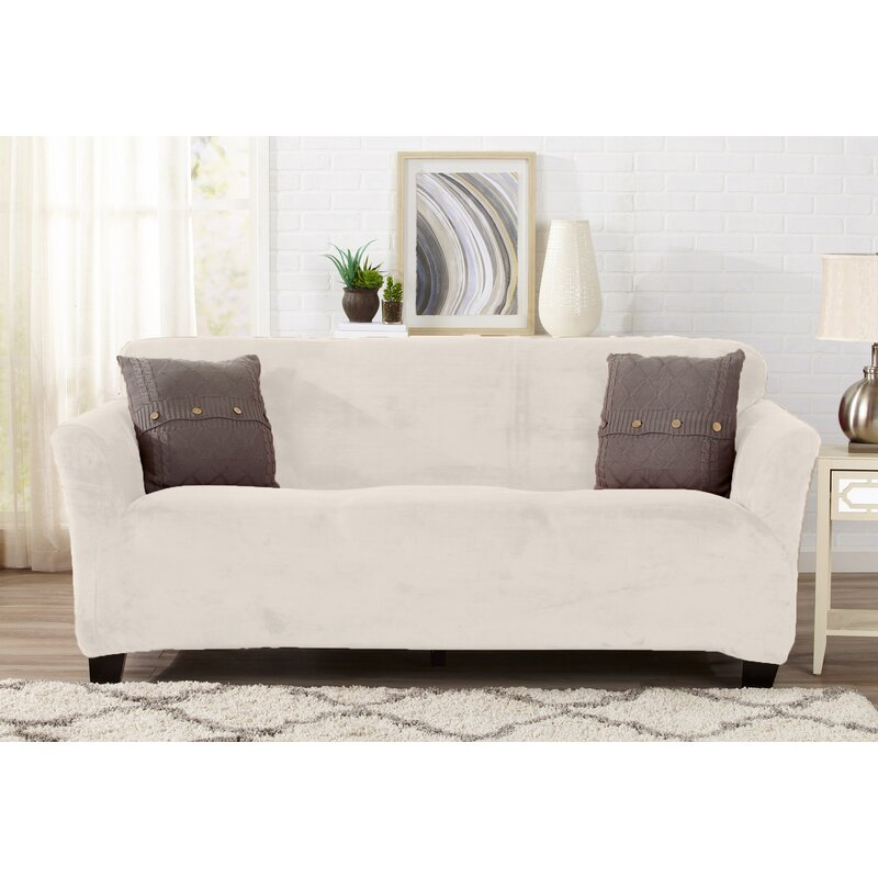 Velvet Plush Form Fit T Cushion Sofa Slipcover