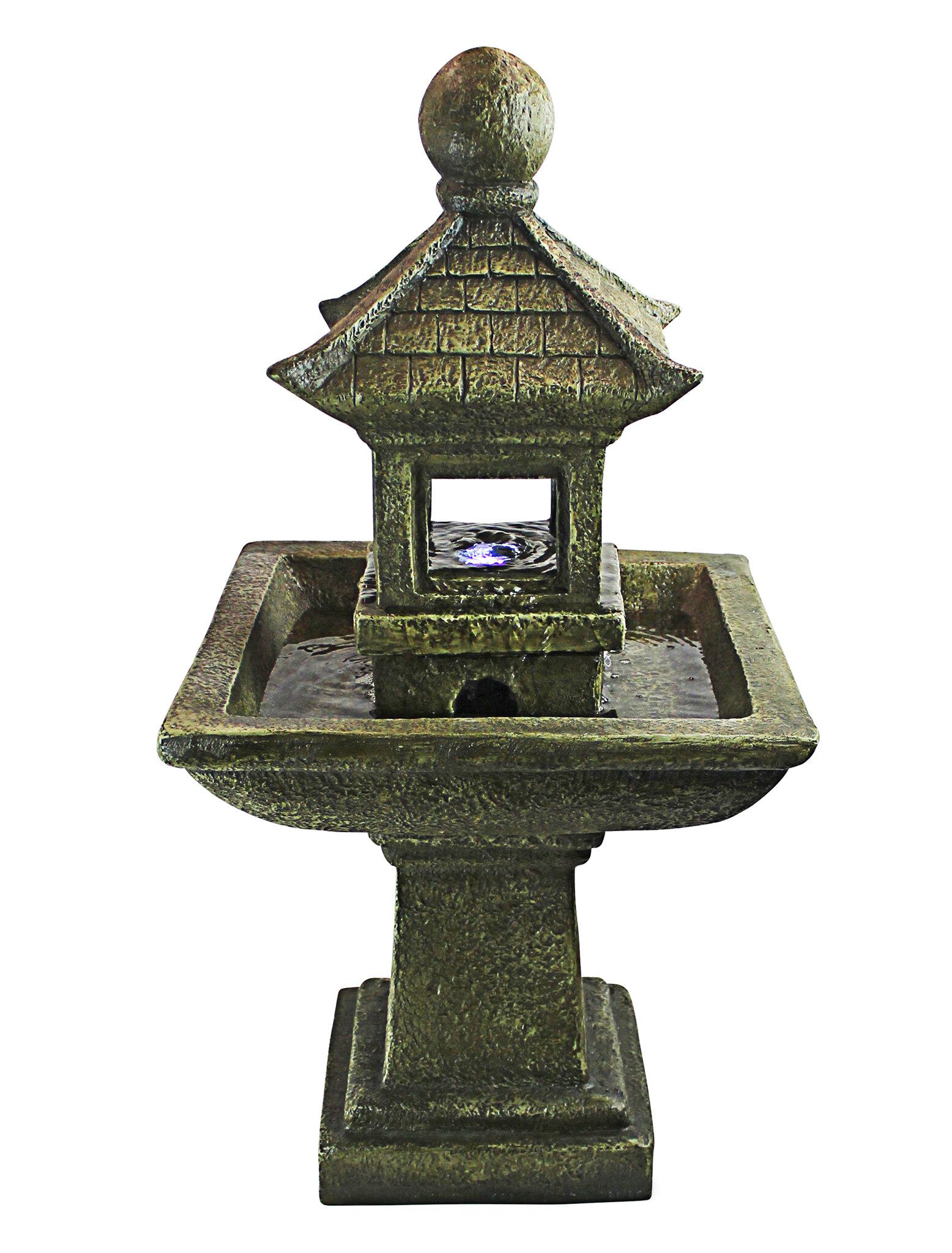 Design Toscano Resin Sacred Space Pagoda Illuminated Garden