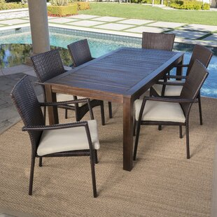 Charlton Home Avebury Outdoor 7 Piece Dining Set with Cushions