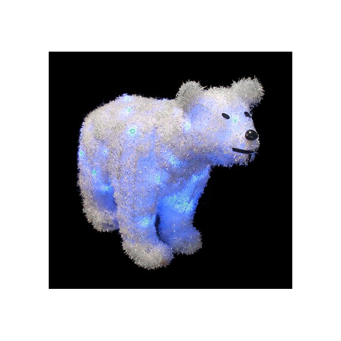 Northlight Battery Operated Lighted Tinsel Polar Bear Christmas Decoration | Wayfair.ca