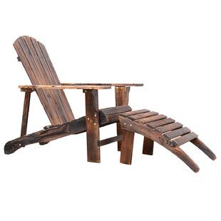 Outsunny Wood Adirondack Chair with Ottoman