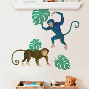Harriet Bee Barcus Monkey Wild Animals, Tropical Leaves Wall