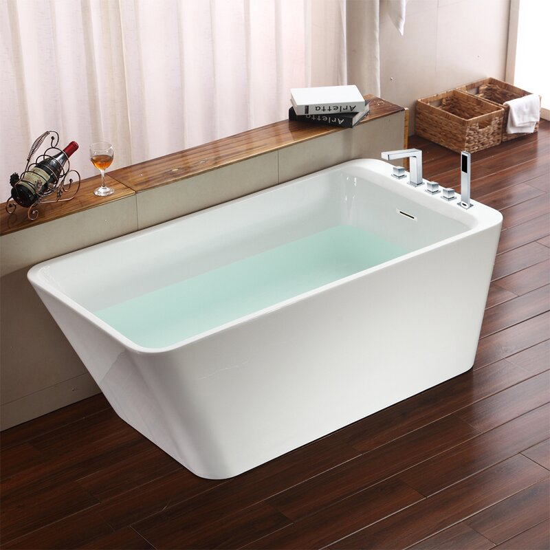 "jade bath missouri 67"" x 30"" freestanding soaking bathtub 