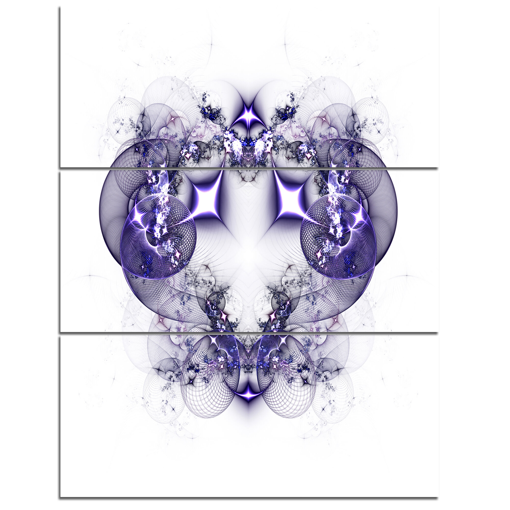 Designart Dark Purple Fractal Flower Design 3 Piece Graphic Art On Wrapped Canvas Set Wayfair