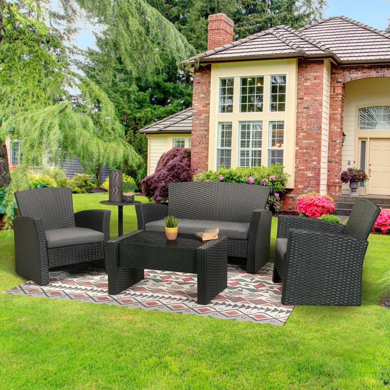 Latitude Run Aiyet 4 Piece Rattan Sofa Seating Group With Cushion Wayfair