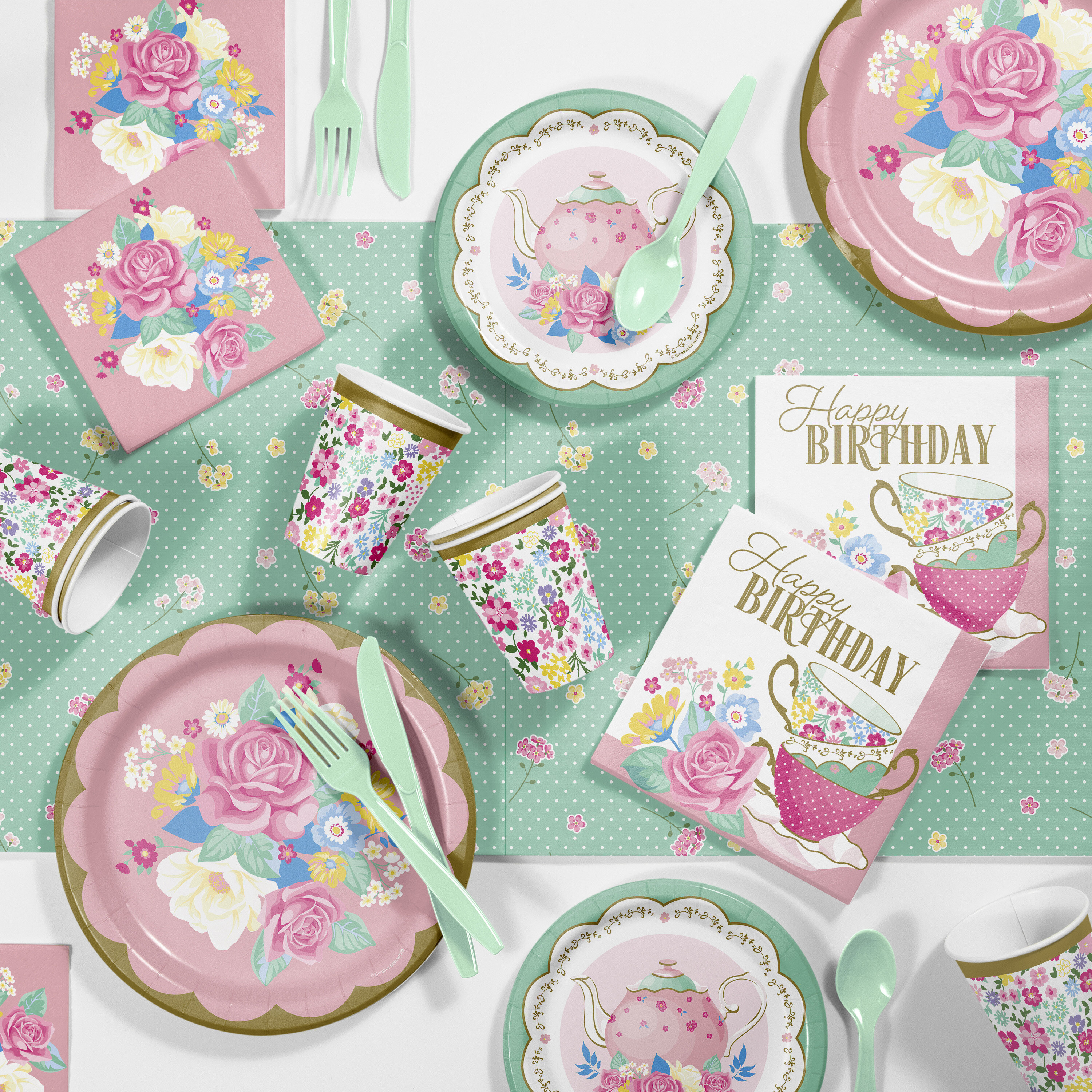 Astonishing Creative Converting Floral Tea Birthday Party Supplies Kit Guests Funny Birthday Cards Online Alyptdamsfinfo