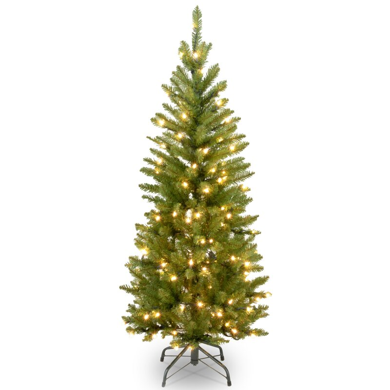 45 pencil fir artificial christmas tree with 150 clear incandescent lights - Artificial Christmas Trees With Lights