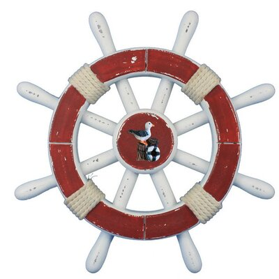"""Decorative Ship Wheel with Seagull Wall Décor Handcrafted Nautical Decor Size: 12"""" H x 12"""" W x 1"""" D, Color: Antique"""