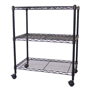 Excel Hardware Multi-Purpose 3-Tier Wire Shelving Unit with Casters, 24 In. X 14 In. X 28 In., Black