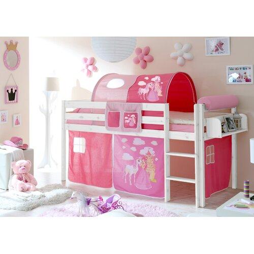 Hochbett Malte  90 x 200 cm | Kinderzimmer > Kinderbetten | Weiß/lila | Massivholz | TICAA