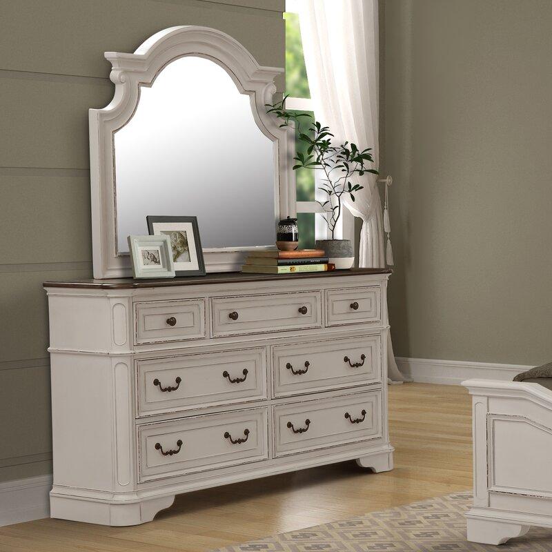 Lilia Oak Wood 7 Drawer Double Dresser