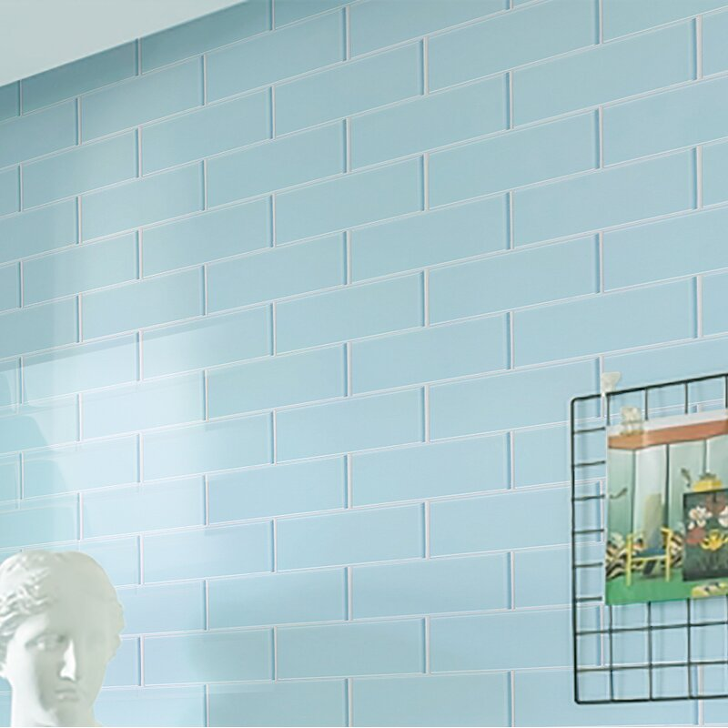 Ws Tiles Premium Series 4 X 12 Glass Subway Tile In Glossy Baby