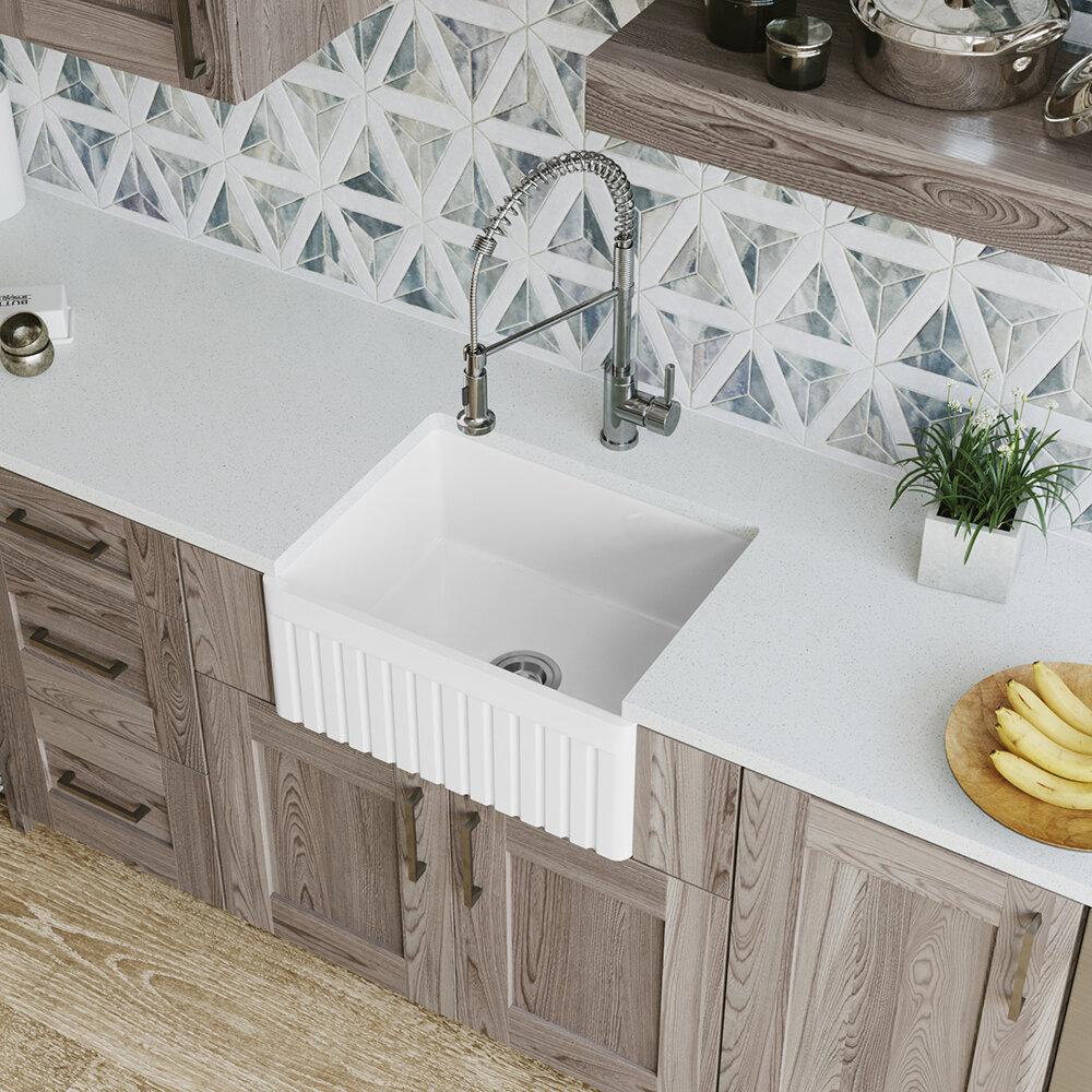Mrdirect Single Bowl Fireclay 24 X 18 Farmhouse Apron Kitchen Sink Wayfair