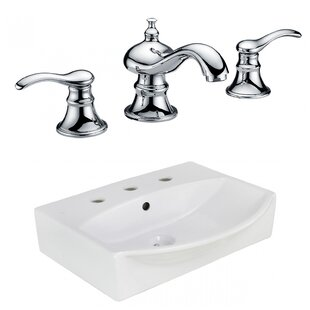 Read Reviews Ceramic Rectangular Bathroom Sink with Faucet and Overflow By American Imaginations