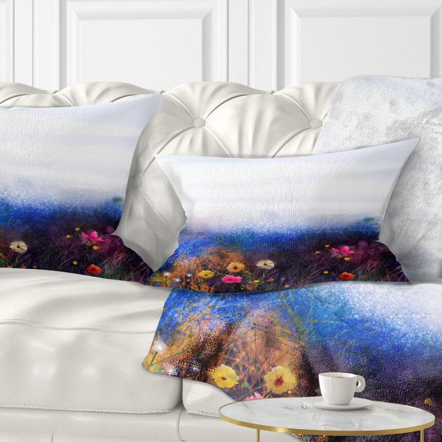 East Urban Home Floral Watercolor Painting Flower In Meadow Lumbar Pillow Wayfair