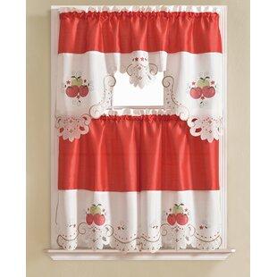 Lehoux 3 Piece Apple Kitchen Curtain Set
