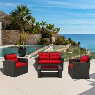 Carlo 4 Piece Rattan Sofa Seating Group with Cushions by Bay Isle Home