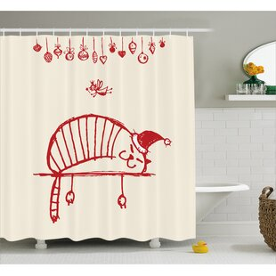Christmas Sleeping Cat Fairy Single Shower Curtain