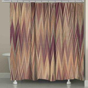 Ebern Designs Harvell Muted Chevron Shower Curtain