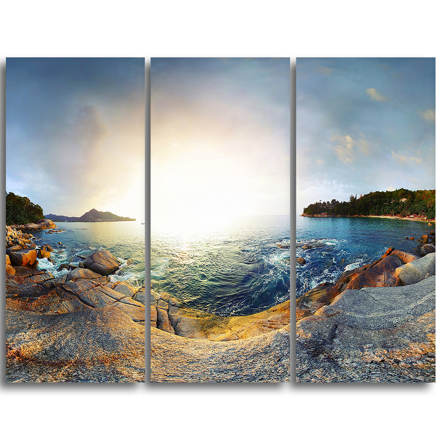 Designart Rocky Coast In Andaman Sea 3 Piece Graphic Art On Wrapped Canvas Set Wayfair
