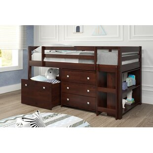 Renley Twin Low Loft Bed with Drawer and Bookcase