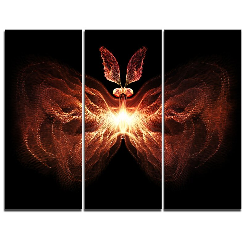 Designart Fire In Middle Fractal Butterfly 3 Piece Graphic Art On Wrapped Canvas Set Wayfair