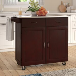 Southerland Large Kitchen Cart with Stainless Steel Top by Andover Mills