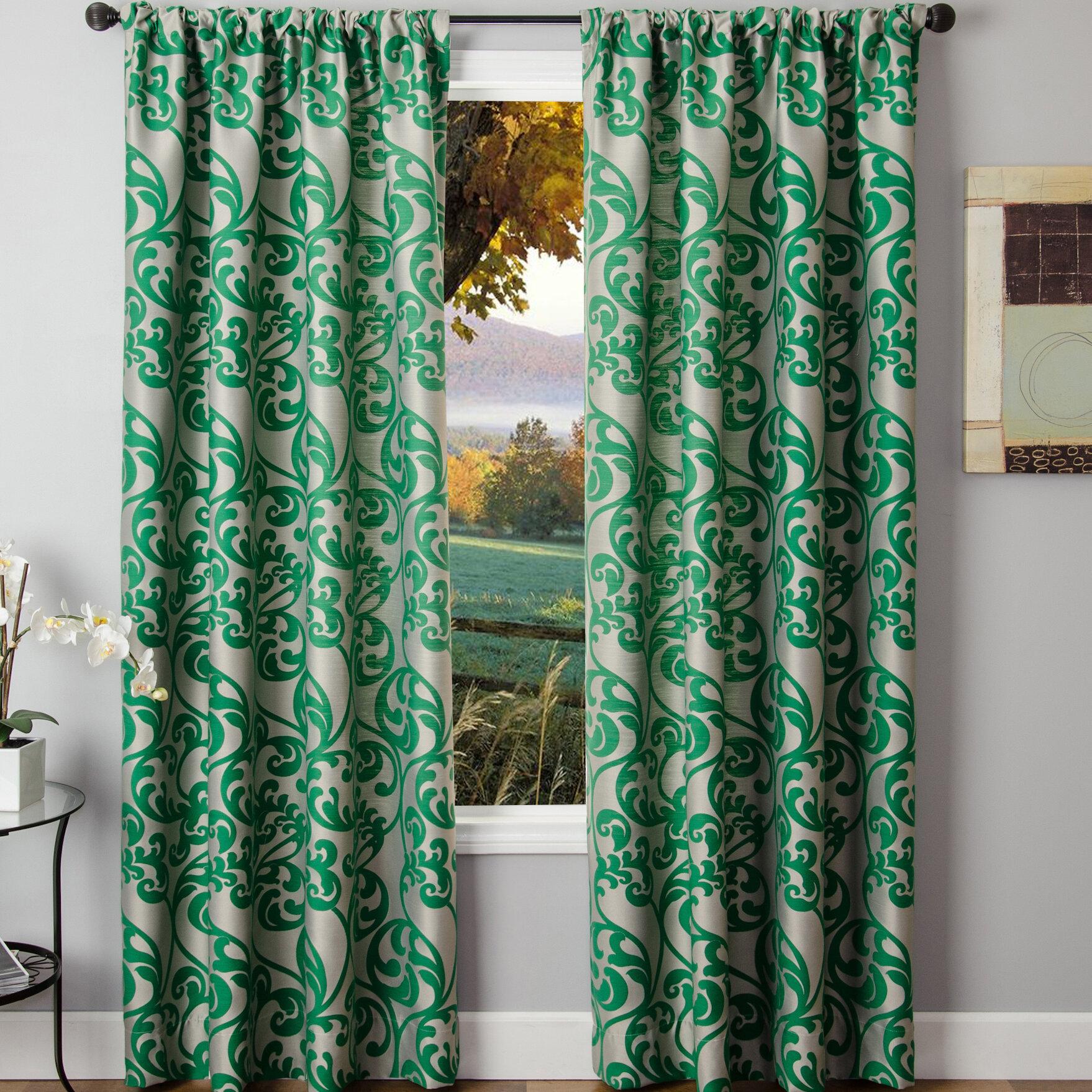 Winston Porter Lavonne Nature Floral Room Darkening Rod Pocket Single Curtain Panel Reviews Wayfair