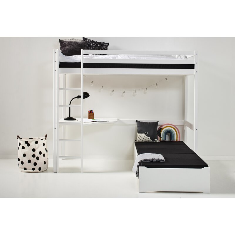 Basic European Single L-Shaped Bunk Bed with Trundle and Desk