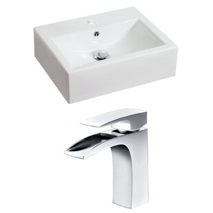 Ceramic Rectangular Vessel Bathroom Sink with Faucet and Overflow ByRoyal Purple Bath Kitchen